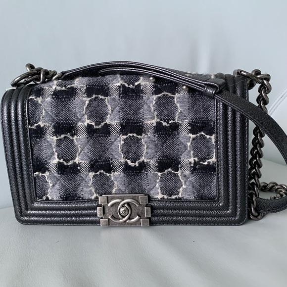 6e66082f8b7c CHANEL Handbags - Chanel boy black caviar leather with tweed flap